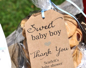 Rustic Boys Baby Shower Favor Tags, Sweet Baby Boy, Kraft Favor Tag, Baby Shower Thank You Tags, Baby Shower Favors - Set of 12