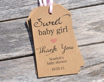 Girl Baby Shower Favor Tags, Sweet Baby Girl, Rustic Thank You Tags, Kraft Favor Tag, Girls Baby Shower Thank You Tags - Set of 12