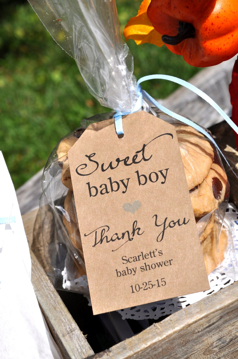 Rustic baby shower favor tags sweet baby boy thank you - Baby shower invitations and decorations ...