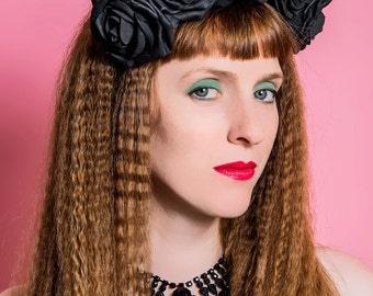 Black rose flower crown headdress band