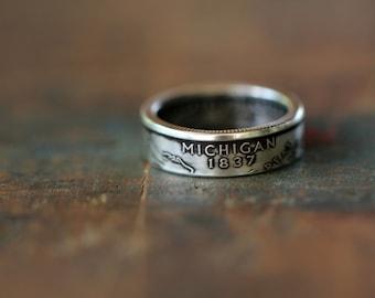 Handmade Silver Michigan State Coin Ring, Custom Sizing 4-13