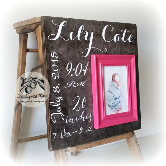 Engraved Baby Gifts Australia : Personalized baby frame black damask hot pink gift