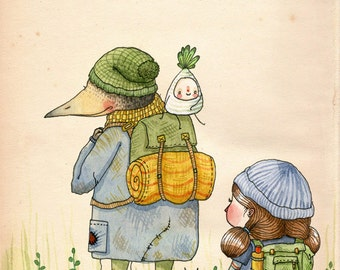 Shortcut to the Long Road - A5 Print - illustration adventure hike girl bird beak creature parsnip vegetable stripe back pack travel explore