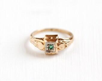 Sale - Vintage Art Deco 10k Yellow & White Gold Genuine Emerald Ring - 1920s Green Gemstone Repousse Design Fine Children's Midi Jewelry