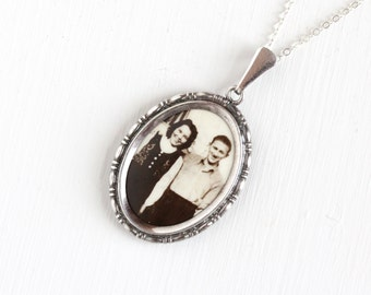 Vintage Art Deco Photographic Pendant Necklace - 1930s 1940s WWII Era Germany Old Stock Silver Plated Historical Celluloid Picture Jewelry