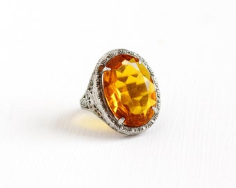 Vintage Art Deco Sterling Silver Simulated Citrine Ring - Antique 1920s Size 5 Filigree Orange Yellow Glass Stone Oval Statement Jewelry