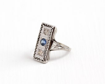 Sale - Antique 10K White Gold Created Blue Sapphire & Diamond Filigree Shield Ring - Vintage Art Deco 1920s Fine Gemstone Engagement Jewelry