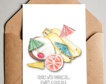 Tropical Fruit Note Card 6 pack