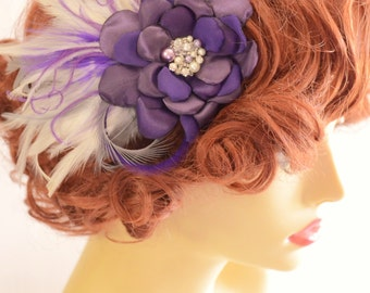 Bridal Purple Hair flower with Feathers,Ivory and purple flower, Dark Purple flower with Rhinestones and pearls, Grey with purple and ivory