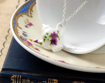 Floral Teapot Necklace - Tea Gift - Teapot Jewellery