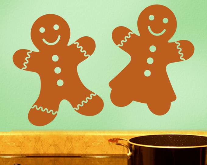 Huge 30 inch Boy or Girl Gingerbread Cookie Wall Decals, Vinyl Wall Decals, Gingerbread Man Art, Christmas Decorations