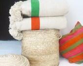 Moroccan POM POM Wool Blanket - Ecru and Orange bands