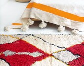 "Vintage Moroccan Wool Rug - AZILAL ""Red Diamond"""