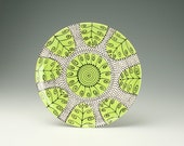 """In Stock - 11-3/4"""" Serving Platter Spiral Dots and Curls - To Hang or Not to Hang - Ready to Hang Hand Painted Dinnerware"""
