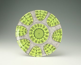 "11-3/4"" Serving Platter Spiral Dots and Curls - To Hang or Not to Hang - Ready to Hang Hand Painted Dinnerware"