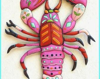 Painted Metal Pink Lobster Wall Hanging, Funky Art, Metal Wall Art, Whimsical Art Design, Haitian Metal Art, Folk Art, Patio Decor - J-936PK