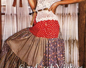 Vintage 1970s Sewing Pattern Peasant Gypsy Maxi Skirt Tiered Bias Swirl Digital Download PDF