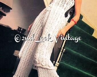 Vintage Crochet Pattern 1970s Lacy Bell Bottom Pants Long Boho Tunic Digital Download PDF