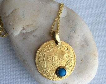 OTTOMAN COIN Pendant  sterling 22 carat gold historic replica