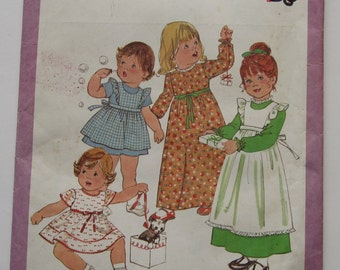 UNCUT Simplicity Size 2 Toddler Dress & Pinafore Sewing Pattern Little Girls Vintage 1970s