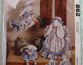 Kitchen Bunnies: Doorstop, Toaster Cover, Broom Cover, Flying Bunny Witch by Faye Wine Vintage 1990's McCalls Pattern 862 UNCUT