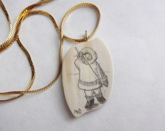 Scrimshaw Eskimo Pendant Necklace