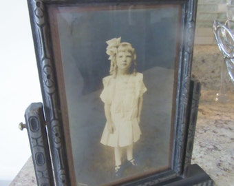 My Sweet Victorian Girl Antique Photo Engraved Wooden Swing Frame Silver/Grey