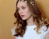 Wedding Hair vine and Birdcage veil, Bridal Hair Accessory, headpiece with leaves, Agnes Hart UK