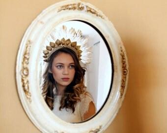Feather Wedding Headpiece gold and ivory -Statement Vintage Showgirl headdress - Carnival Wedding - Bohemian Bridal Headpiece