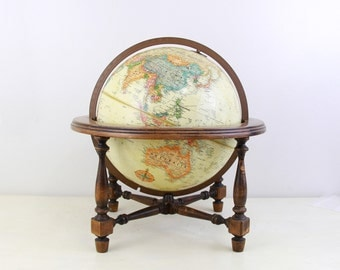 1980s Vintage Replogle 12 Inch Globe with Wood Stand ,Office Decor Globe,Wedding Decor Globe, Wedding Table Decor Item No 1586