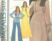 1970s Maxi Dress or Top Square Armhole Square Neckline Sewing Pattern Boho Peasant McCall's 5417 © 1977 Rodeo Chic Vintage Sewing Pattern