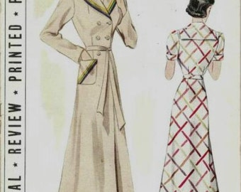 1930s Brunch Coat Lounge Coat House Coat Sailor Collar Double Breasted Pictorial Review 9172 Unused FF Bust 34 Womens Vintage Sewing Pattern