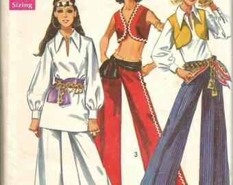 1960s Hippie Boho Vest Bell Bottoms Hip Hugger Mega Flares V Neck Tunic Simplicity 8210 Uncut FF Bust 32.5 Women's Vintage Sewing Pattern