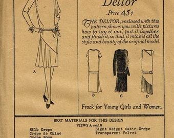 1920s Flapper Gatsby Miss Fisher Dress Asymmetrical Neckline Drop Waist Butterick 1771 Unused FF Bust 35 Women's Vintage Sewing Pattern