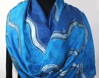 Blue Silk Scarf Handpainted  Handmade Silk Shawl BLUE OCEANS, in 3 SIZES, by Silk Scarves Colorado. Beach Silk Scarf. Handmade Silk Gift