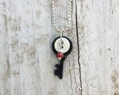 Indutrial Steampunk Vintage Key Necklace Black With Red Silver Bead Charms White Vintage Button OOAK