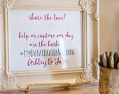 Wedding Hashtag -- Custom Printable Social Media Photo Sign -- Digital File Only