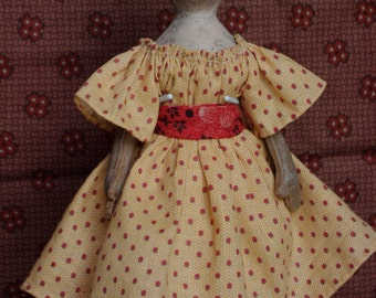 "PDF E pattern tutorial  9"" paperclay over cloth doll by The Little Hamptons. Primitive antique Style."