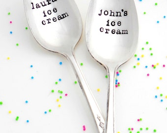 His Ice Cream Her Ice Cream Spoons. Personalized pair of Tablespoons with Names. Ice Cream Pair of Vintage Spoons with Name. Mine, Yours.