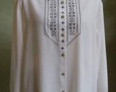 "Vintage Koret Long Sleeved Cream Blouse with Machine Stitching Bust 58"" Waist 57"""