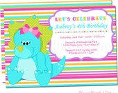 Girl Dinosaur Party Invitations | Dinosaur Birthday Invitation | Girls Dinosaur Invitation | Dinosaur Invite #533