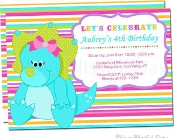Girl Dinosaur Party Invitations | Dinosaur Birthday Invitation | Girls Dinosaur Invitation | Dinosaur Invite #533