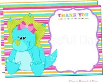 Dinosaur Girl Thank You Cards | Dinosaur Thank You Card | Girly Dinosaur Stationery | Girl Dinosaur Party #533
