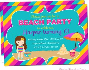 Beach Girl Party Invitations   Girl Beach Party Invitation   Girl Pool Party Invitation   Girl Pool Party   Girl Beach Party #506