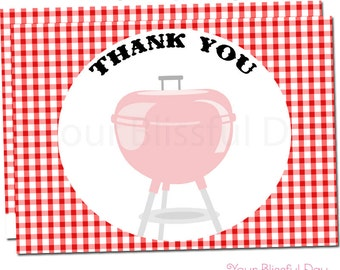 BBQ Thank You Cards | Barbecue Thank You Cards | Barbecue Stationery | Grill Out Party | Grill Thank You Cards #102