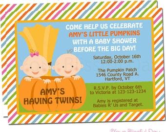 Little Pumpkin Baby Shower Party Invitation   Pumpkin Baby Shower Invitations   Twin Pumpkin Baby Shower Invitation #205