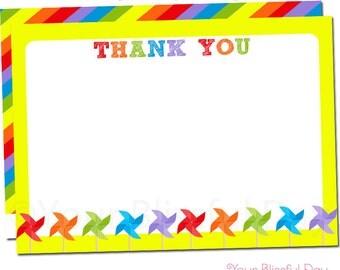 Colorful Pinwheels Thank You Cards | Pinwheel Thank You Card | Pinwheel Stationery | Colorful Pinwheel Party Thank You Card #520