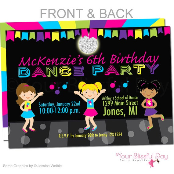 Girl Dance Party Invitations – Dance Party Invites