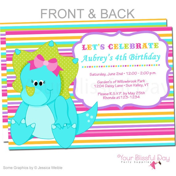 Girl Dinosaur Party Invitations Dinosaur Birthday Invitation