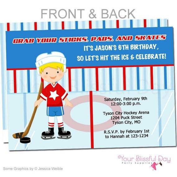 Hockey Party Invitation | Boy Hockey Birthday Party Invitations | Hockey Boy Birthday Invitation | Boy Hockey Party Invite #540